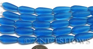 Cultured Sea Glass teardrop round Beads  <b>18x6mm</b> 30-Pacific Blue (4-in-str)(6-pc-str)   per  <b>5-str-hank</b>