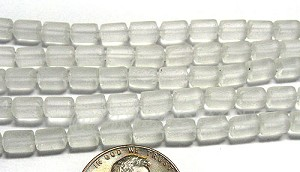 Cultured Sea Glass tube Beads <b>about 6x4mm</b> 01-Crystal  (strand length 8 inches) per <b>5-str-hank</b>