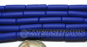 Cultured Sea Glass tube Beads <b> 14x4mm</b> Opaque royal blue color (strand length 8 inches) per <b>5-str-hank</b>