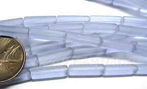 Cultured Sea Glass tube Beads <b> 14x4mm</b> 39-Periwinkle Changes  (strand length 8 inches) per <b>5-str-hank</b>