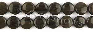 coffee jasper  coin puffed Beads <b>14mm</b>     per   <b> 8-in-str</b>