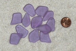Cultured Sea Glass top-drilled flat freeform mix Pendants  <b>varied</b> 39-Periwinkle Changes   per  <b>12-pc-bag</b>