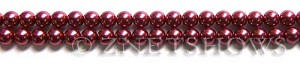 Glass Pearls <b>6mm</b> Round Raspberry Color K0588 (15.5-in-str)   per <b>5-str-hank</b>