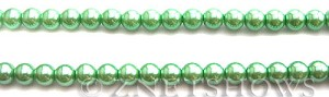 Glass Pearls <b>6mm</b> Round Vivid Green Color K0080 (15.5-in-str)   per <b>5-str-hank</b>