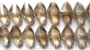 Tiaria Glass Crystal 69-Tan Color axe Beads <b>24x14mm</b> faceted     per   <b> 8-in-str (14-pc-str)</b>