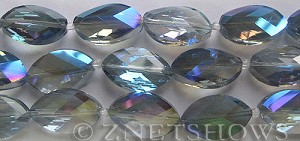 Tiaria Glass Crystal 123-Meridian Blue marquise spindle Beads <b>21x13mm</b> faceted     per   <b> 8-in-str (10-pc-str)</b>