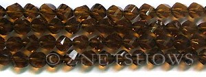 Tiaria Glass Crystal 17-Amber twist Beads <b>8mm</b> faceted     per   <b> 8-in-str  (27-pc-str)</b>