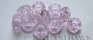 Tiaria Glass Crystal 06-Blossom Pink rondelle Beads <b>14x8mm</b> faceted 5mm large hole    per   <b> 10-pc-bag</b>
