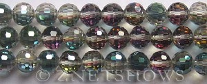 Tiaria Glass Crystal 120-Sahara Green round Beads <b>10mm</b> faceted     per   <b> 8-in-strand (24-pc-str)</b>