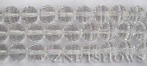 Tiaria Glass Crystal 01-Crystal round Beads <b>12mm </b> faceted     per   <b> 8-in-str  (20-pc-str) </b>