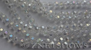 Tiaria Glass Crystal 01AB-Crystal AB round Beads <b>6mm</b> faceted     per   <b> 10-str-hank (37-pc-str)</b>