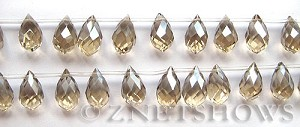 Tiaria Glass Crystal 69-Tan Color teardrop Beads <b>12x8mm</b> faceted     per   <b> 20-pc-str</b>