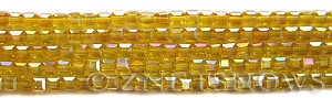 Tiaria Glass Crystal 84AB-Lemon AB cube Beads <b>4mm</b> faceted     per   <b> 10-str-hank (50-pc-str)</b>