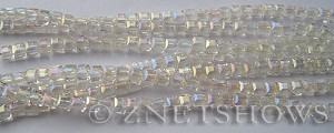 Tiaria Glass Crystal 01AB-Crystal AB cube Beads <b>3mm </b> faceted     per   <b> 10-str-hank (71-pc-str) </b>