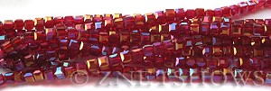 Tiaria Glass Crystal 05AB-Cherry Red AB cube Beads <b>3mm </b> faceted     per   <b> 10-str-hank  (71-pc-str) </b>