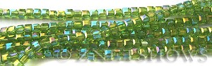 Tiaria Glass Crystal 80AB-Lime Green AB cube Beads <b>3mm </b> faceted     per   <b> 10-str-hank  (71-pc-str) </b>