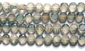 Tiaria Glass Crystal 120-Sahara Green coin Beads <b>10mm</b> faceted with Matte sides    per   <b> 23-pc-str</b>