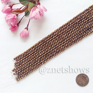Tiaria Glass Crystal rondelle Beads <b>about 3x3.5mm</b> faceted 105-Metallic Copper  (8-in-str,about 75-pc-str) per <b>10-str-bag</b>