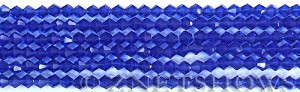 Tiaria Glass Crystal 33-Royal Blue bicone Beads <b>4mm</b> faceted     per   <b> 8-in-str (50-pc-str)</b>