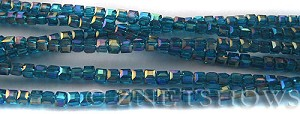 Tiaria Glass Crystal 82AB-Teal AB cube Beads <b>3mm </b> faceted     per   <b> 8.5-in-str  (71-pc-str) </b>
