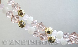 Tiaria Glass Crystal pink tone mix Tiaria Mix Beads <b>varies</b> faceted   per   <b> 8-in-str</b>