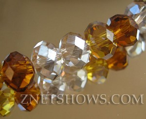 Tiaria Glass Crystal Amber Glow Tiaria Mix Beads <b>8x5mm</b> faceted   per   <b> 10-strand Hank</b>