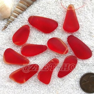 Cultured Sea Glass teardrop nugget Pendants <b>about 10-15x21-28mm</b> 05-Cherry Red freeform drops <b> top side drilled </b>per <b>10-pc-bag</b>