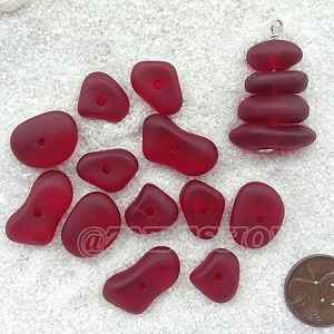 Cultured sea glass freeform regular center drilled nugget graduated stacking mix <b>14-22x11-14mm</b> 05-Cherry Red per <b>12-pc-bag</b>, quite unique focal design.