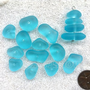 Cultured sea glass freeform regular center drilled nugget graduated stacking mix  <b>14-22x11-14mm</b> 28-Turquoise Bay per <b>12-pc-bag</b>, quite unique focal design.