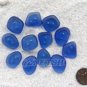 Cultured sea glass flat freeform two-hole clothing buttons  <b>18-22x15-17mm</b> 31-Light Sapphire per <b>12-pc-bag</b>, possible use as very unique end piece for a bracelet or necklace.