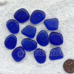 Cultured sea glass flat freeform two-hole clothing buttons <b>18-22x15-17mm</b> 33-Royal Blue per <b>12-pc-bag</b>, possible use as very unique end piece for a bracelet or necklace.
