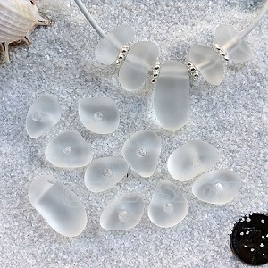 Cultured sea glass freeform large hole nugget <b>about 12-14x16-25mm</b> 01- Crystal per <b>10-pc-bag</b>, very unique necklace center (focal) set