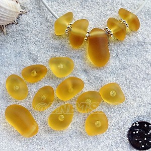 Cultured sea glass freeform large hole nugget <b>about 12-14x16-25mm</b> 16-Desert Gold per <b>10-pc-bag</b>, very unique necklace center (focal) set
