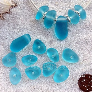 Cultured sea glass freeform large hole nugget <b>about 12-14x16-25mm</b> 28-Turquoise Bay per <b>10-pc-bag</b>, very unique necklace center (focal) set