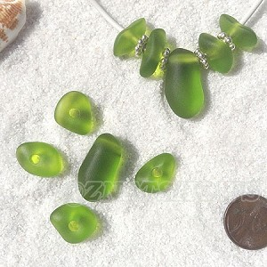 Cultured Sea Glass freeform large hole nugget Beads <b>about 12-14x16-25mm</b> 22-Olive per <b>10-pc-bag</b> very unique necklace center (focal) set