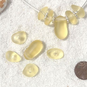 Cultured Sea Glass freeform large hole nugget Beads <b>about 12-14x16-25mm</b> 84-Lemon per <b>10-pc-bag</b> very unique necklace center (focal) set