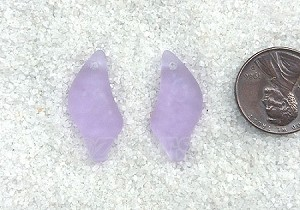 Cultured Sea Glass Wave Drop Earring Set Pendants <b>25x12mm</b> 39-Periwinkle Changes per <b>1-pair-bag</b>