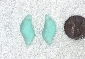 Cultured Sea Glass Wave Drop Earring Set Pendants <b>25x12mm</b> 88-Light Aqua `Coke` bottle Seafoam per <b>1-pair-bag</b>