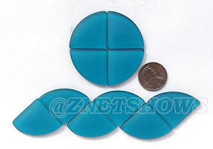 Cultured Sea Glass Cabachons and Art Tiles Quadrant Puffed <b>25mm</b> 82-Teal per <b>10-pc-bag</b>