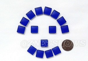 Cultured Sea Glass Cabachons and Art Tiles Square Puffed <b>12mm</b> 33-Royal Blue per <b>15-pc-bag</b>