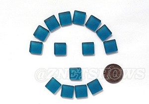 Cultured Sea Glass Cabachons and Art Tiles Square Puffed <b>12mm</b> 82-Teal per <b>15-pc-bag</b>
