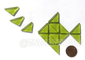 Cultured Sea Glass Cabachons and Art Tiles Triangle Puffed <b>25x12mm</b> 22-Olive per <b>15-pc-bag</b>
