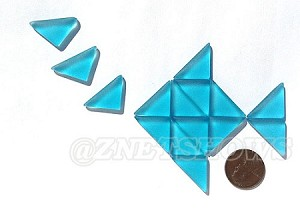 Cultured Sea Glass Cabachons and Art Tiles Triangle Puffed <b>25x12mm</b> 30-Pacific Blue per <b>15-pc-bag</b>