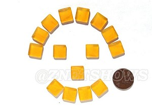 Cultured Sea Glass Cabachons and Art Tiles Square Puffed <b>12mm</b> 57-Saffron Yellow per <b>15-pc-bag</b>