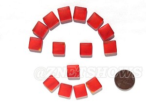 Cultured Sea Glass Cabachons and Art Tiles Square Puffed <b>12mm</b> 83-Tangerine per <b>15-pc-bag</b>