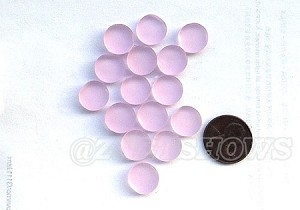 Cultured Sea Glass Cabachons and Art Tiles Coin Puffed <b>12mm</b> 06-Blossom Pink per <b>15-pc-bag</b>