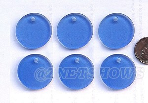 Cultured Sea Glass Flat Coin Pendants <b>25mm</b> 31-Light Sapphire per <b>6-pc-bag</b>