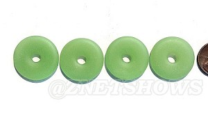 Cultured Sea Glass donut Pendants <b>25mm</b> 43-Opaque Seafoam Green per <b>10-pc-bag</b>