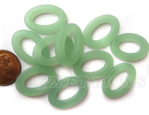 Cultured Sea Glass oval ring Beads <b>About 22x16mm</b>  892 - Opaque Seaform Green per <b> 10-pc-bag</b>