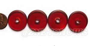 Cultured Sea Glass donut Pendants <b> 25mm</b> 05- Cherry Red per <b> 10-pc-bag</b>